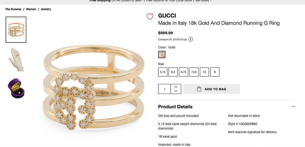 GUCCI Made In Italy 18k Gold And Diamond Running G Ring $999.99 Compare At  $1500 & Up