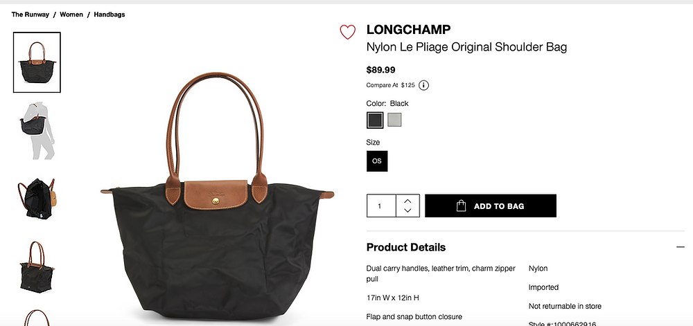 LONGCHAMP Nylon Le Pliage Original Shoulder Bag