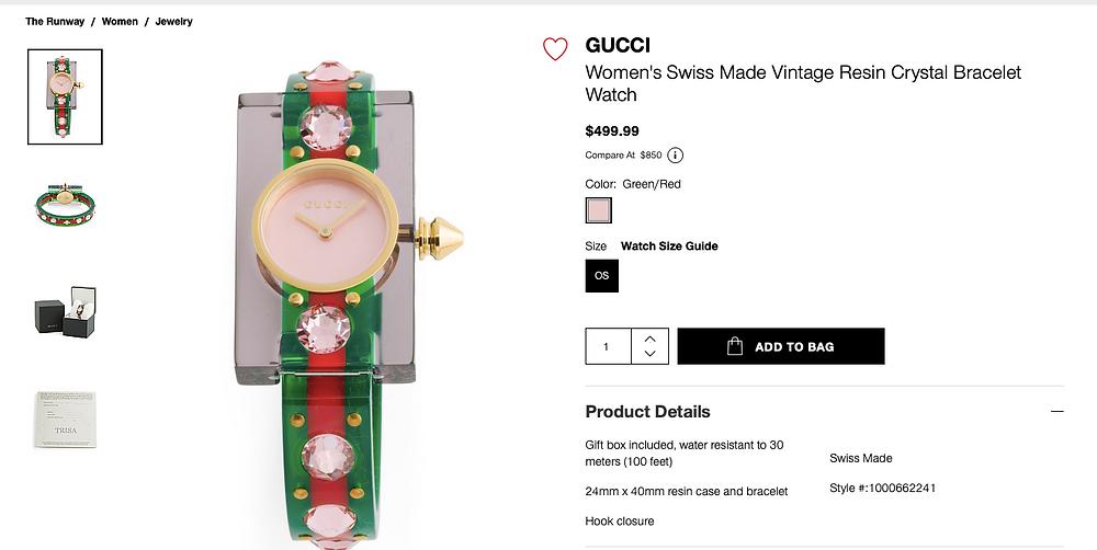 GUCCI Women's Swiss Made Vintage Resin Crystal Bracelet Watch  $499.99