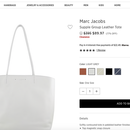 Marc Jacobs Leather Tote 77% OFF