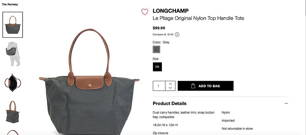 LONGCHAMP Le Pliage Original Nylon Top Handle Tote  $99.99