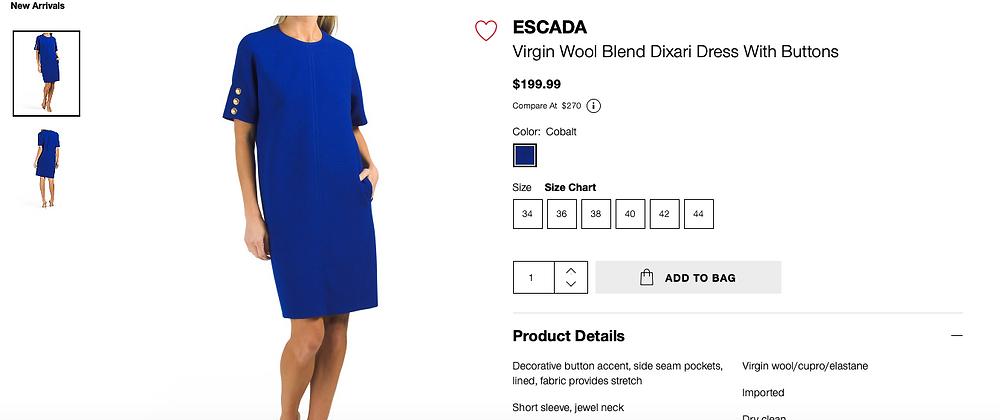 ESCADA Virgin Wool Blend Dixari Dress With Buttons  $199.99