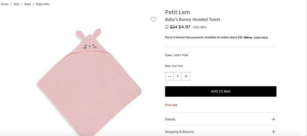 Petit Lem Baby's Bunny Hooded Towel $4.97(79% OFF)