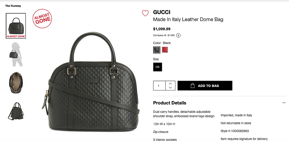 GUCCI Made In Italy Leather Dome Bag  $1,099.99