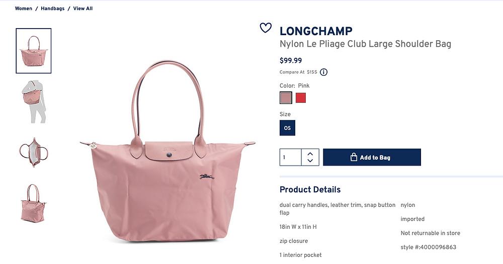 LONGCHAMP Nylon Le Pliage Club Large Shoulder Bag  $99.99