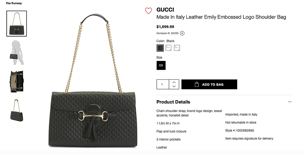 GUCCI Made In Italy Leather Emily Embossed Logo Shoulder Bag  $1,699.99