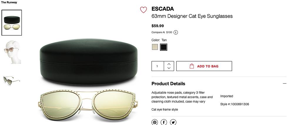 ESCADA 63mm Designer Cat Eye Sunglasses  $59.99
