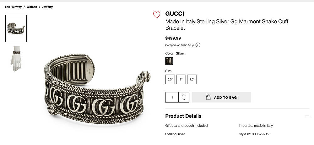 GUCCI Made In Italy Sterling Silver Gg Marmont Snake Cuff Bracelet