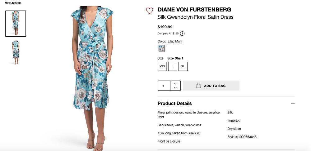 DIANE VON FURSTENBERG Silk Gwendolyn Floral Satin Dress  $129.99