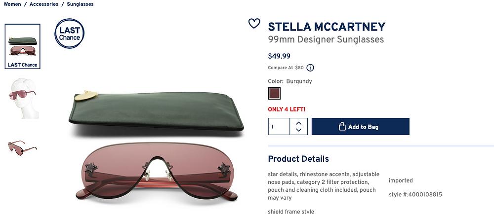 STELLA MCCARTNEY 99mm Designer Sunglasses $49.99