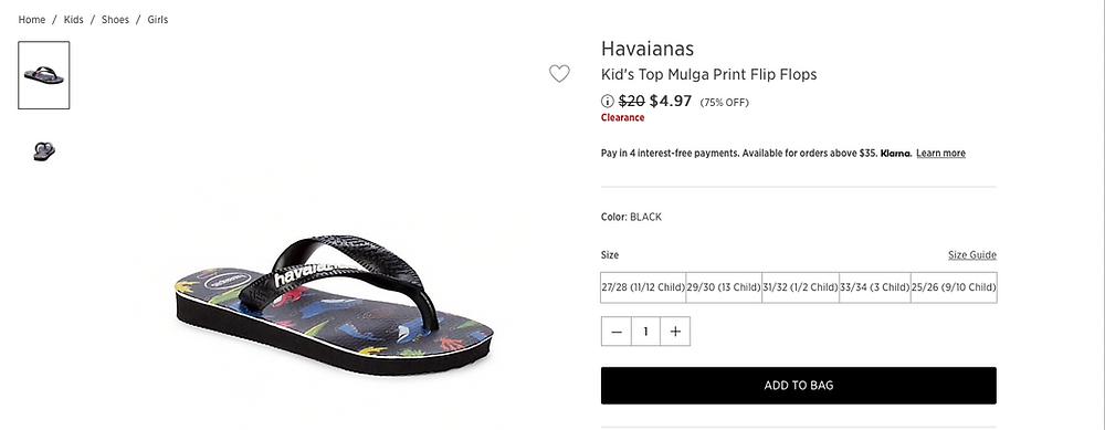 Havaianas Kid's Top Mulga Print Flip Flops $4.97 (75% OFF)