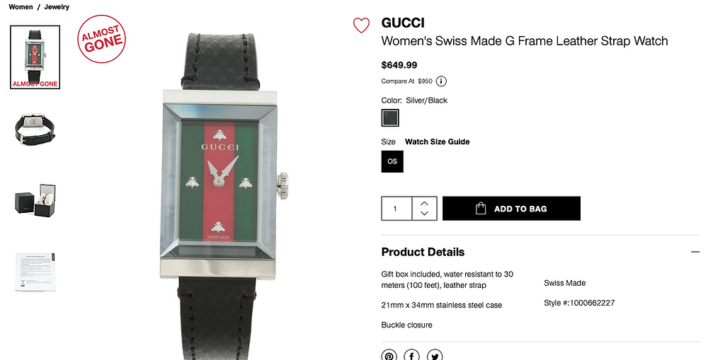 GUCCI Women's Swiss Made G Frame Leather Strap Watch  $649.99