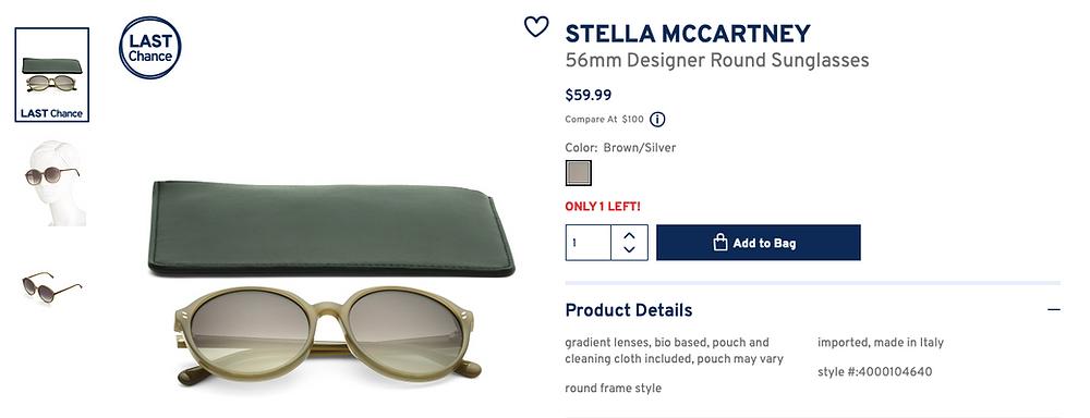 STELLA MCCARTNEY 56mm Designer Round Sunglasses  $59.99