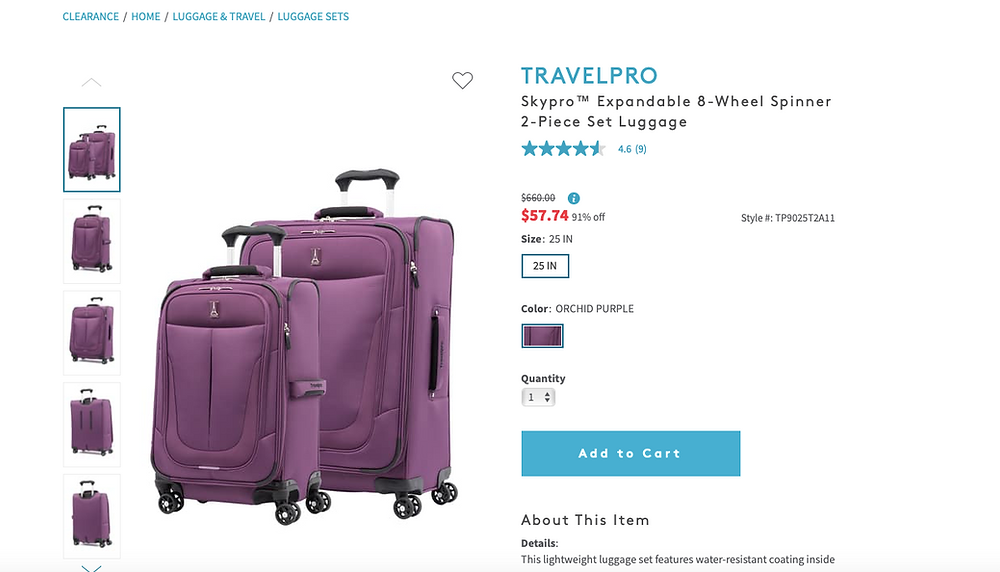 TRAVELPRO Skypro™ Expandable 8-Wheel Spinner 2-Piece Set Luggage  4.6   (9) $660.00Information $57.7491% off