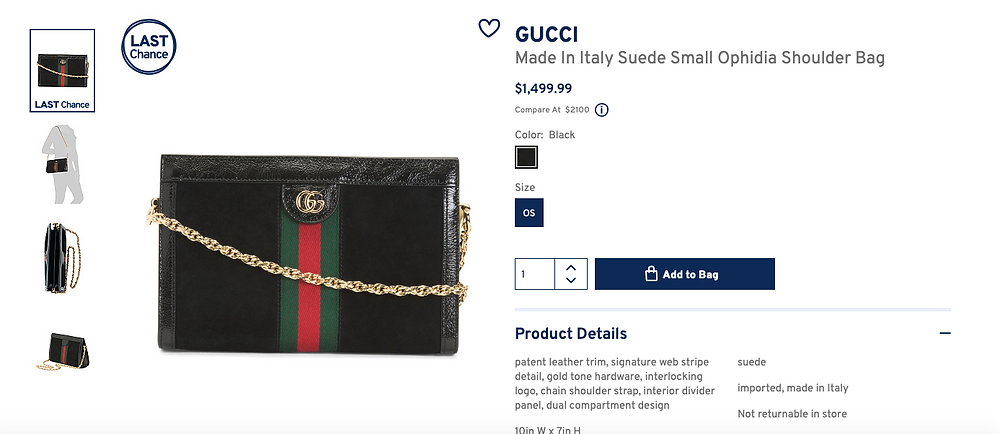 GUCCI Made In Italy Suede Small Ophidia Shoulder Bag  $1,499.99