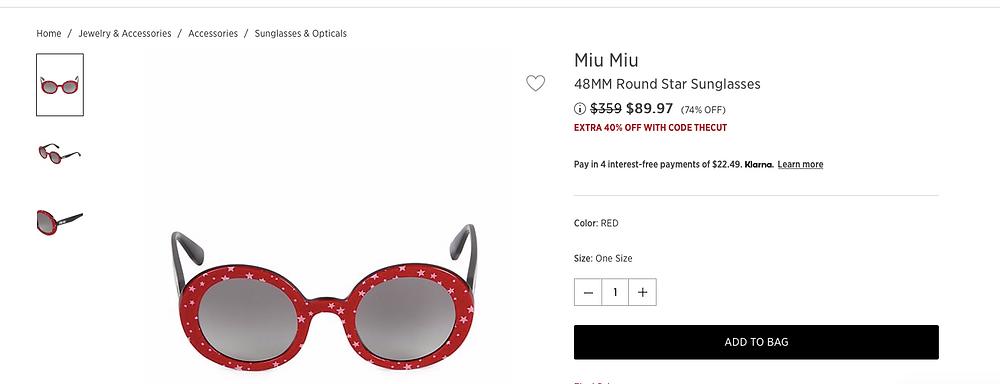 Miu Miu 48MM Round Star Sunglasses