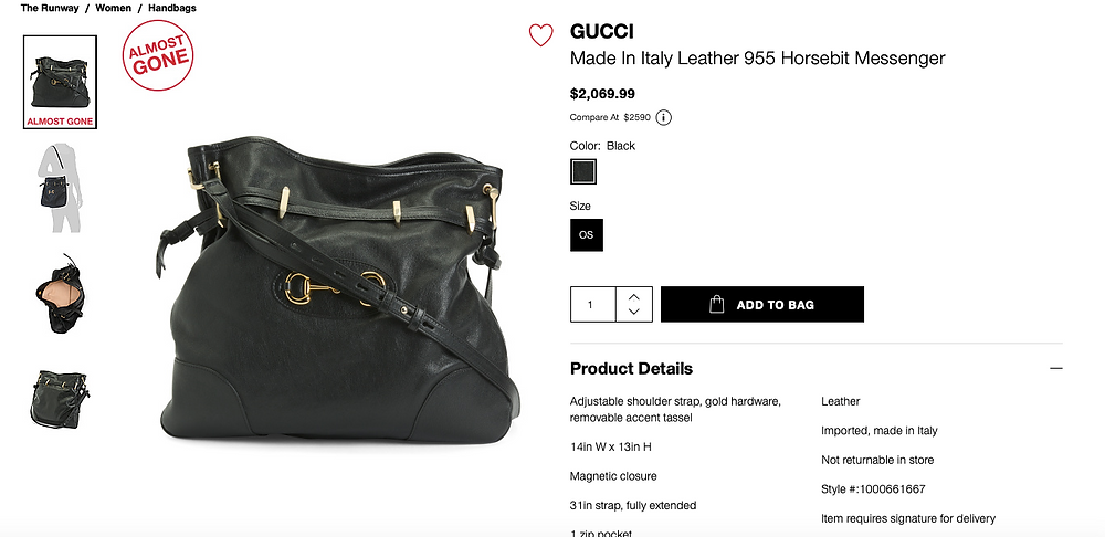 GUCCI Made In Italy Leather 955 Horsebit Messenger  $2,069.99 Compare At  $2590