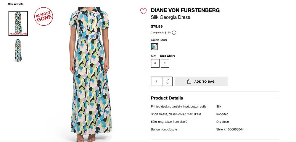 DIANE VON FURSTENBERG Silk Georgia Dress  $79.99