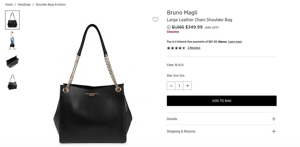 Bruno Magli Large Leather Chain Shoulder Bag  $349.99 (68% OFF)