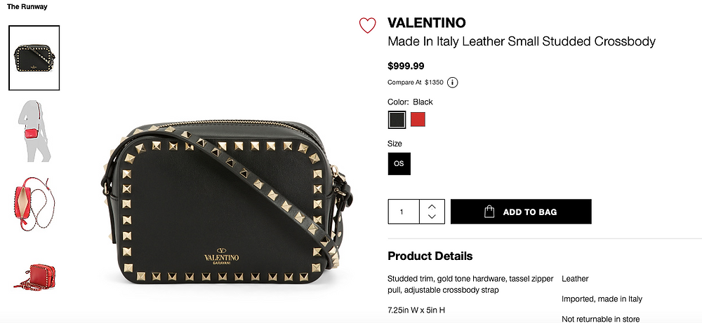 VALENTINO Made In Italy Leather Small Studded Crossbody  $999.99