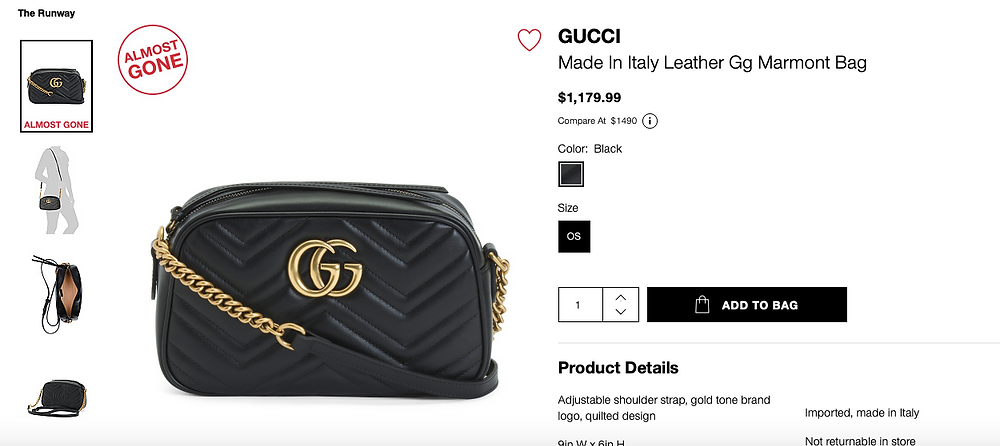 GUCCI Made In Italy Leather Gg Marmont Bag  $1,179.99