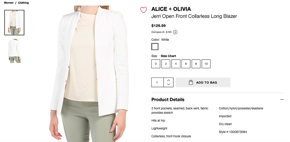 ALICE + OLIVIA Jerri Open Front Collarless Long Blazer  $129.99