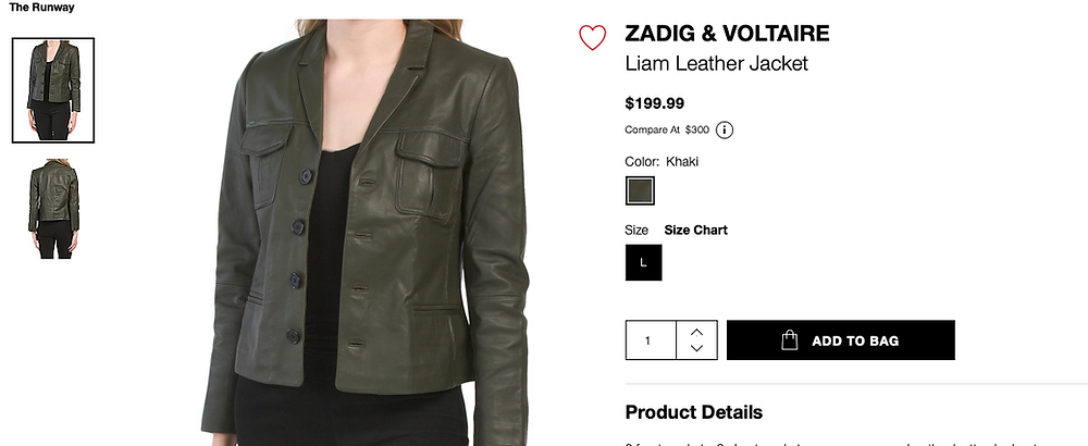 ZADIG & VOLTAIRE Liam Leather Jacket  $199.99
