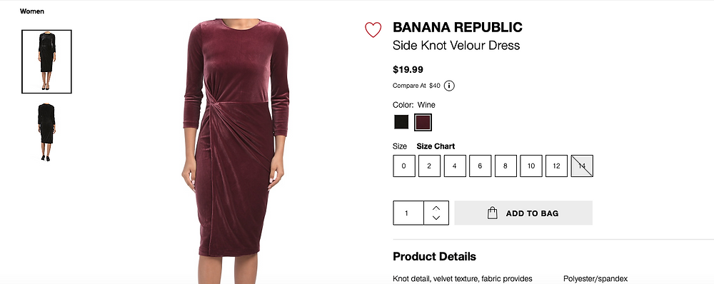 BANANA REPUBLIC Side Knot Velour Dress  $19.99