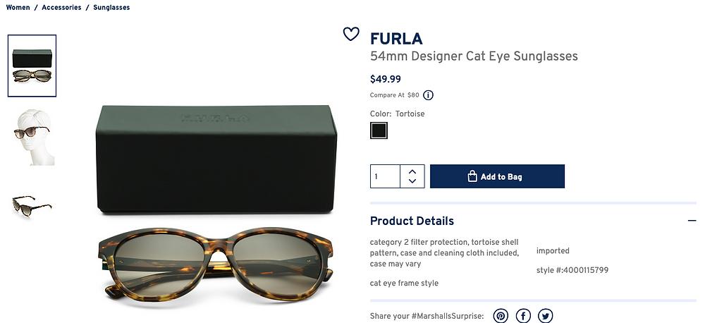 FURLA 54mm Designer Cat Eye Sunglasses  $49.99