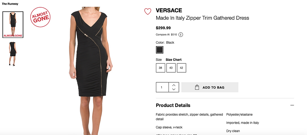 VERSACE Made In Italy Zipper Trim Gathered Dress  $299.99