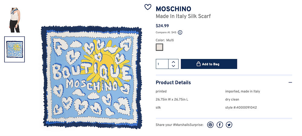MOSCHINO Made In Italy Silk Scarf  $24.99