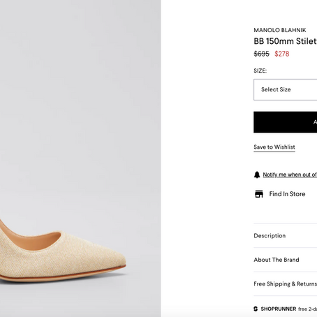 Manolo Blahnik On Sale At Bergdorf Goodman Up To 60% OFF