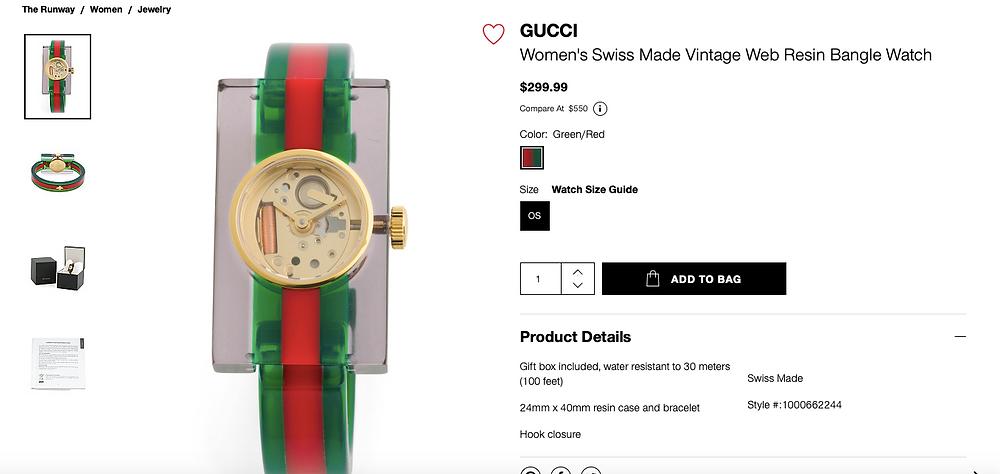 GUCCI Women's Swiss Made Vintage Web Resin Bangle Watch