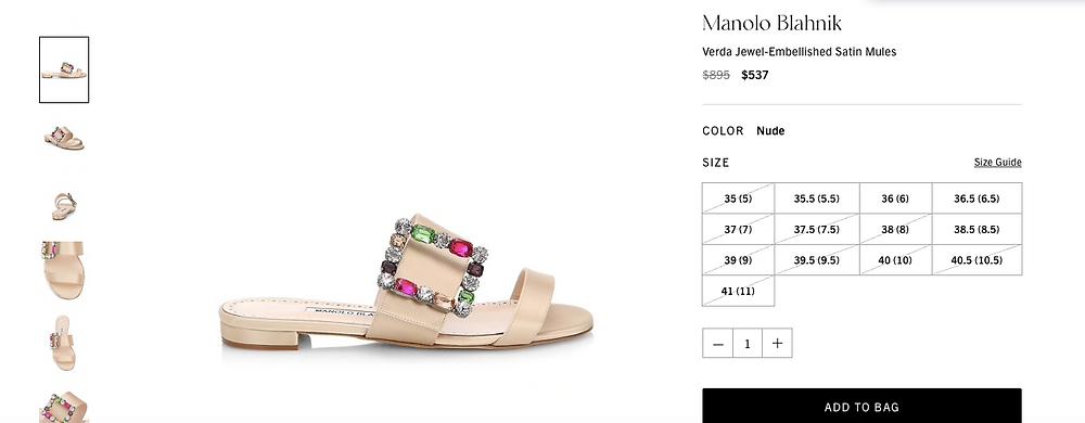 Manolo Blahnik Verda Jewel-Embellished Satin Mules Price reduced from $895 to $537