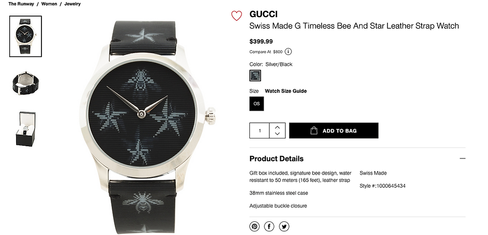 GUCCI  Swiss Made G Timeless Bee Leather Strap Watch