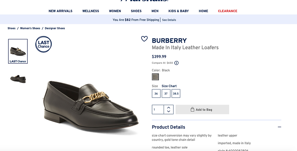 BURBERRY Made In Italy Leather Loafers