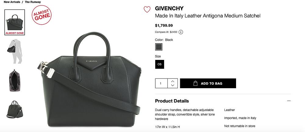 GIVENCHY Made In Italy Leather Antigona Medium Satchel  $1,799.99
