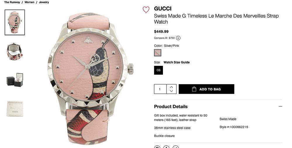 GUCCI Swiss Made G Timeless Le Marche Des Merveilles Strap Watch  $449.99