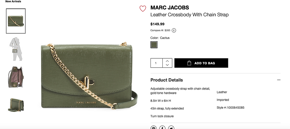 MARC JACOBS Leather Crossbody With Chain Strap  $149.99