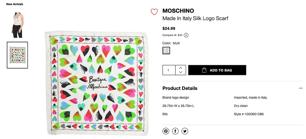 MOSCHINO Made In Italy Silk Logo Scarf  $24.99