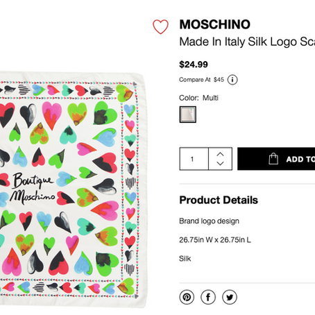 Moschino Silk Scarves From $16.99 At TJMaxx and Marshalls