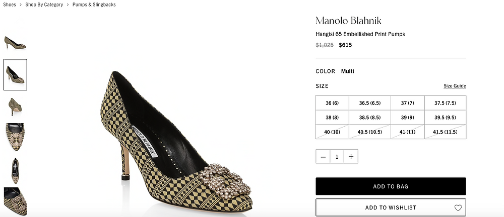 Manolo Blahnik Hangisi 65 Embellished Print Pumps Price reduced from $1,025 to $615