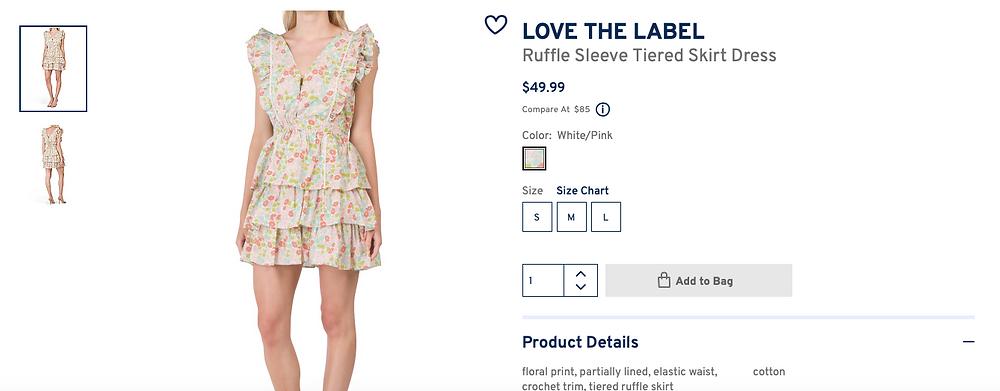 LOVE THE LABEL Ruffle Sleeve Tiered Skirt Dress  $49.99