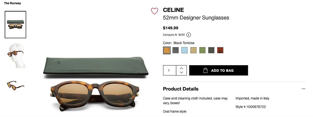 CELINE 52mm Oval Fram Designer Sunglasses $149.99