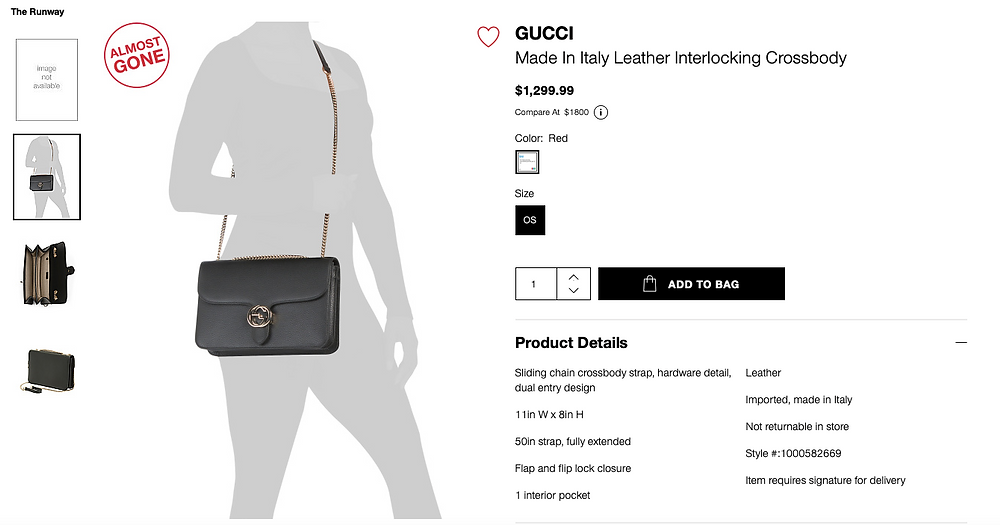 GUCCI Made In Italy Leather Interlocking Crossbody  $1,299.99