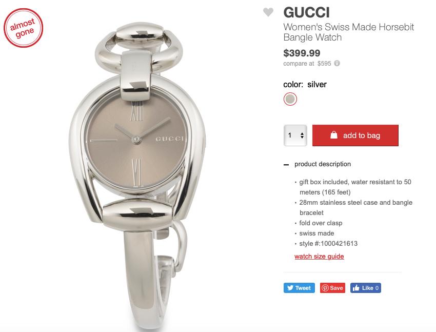 GUCCI Women's Swiss Made Horsebit Bangle Watch