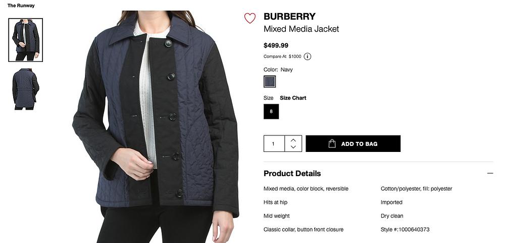BURBERRY Mixed Media Jacket  $499.99