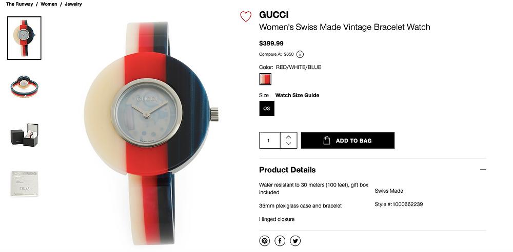 GUCCI Women's Swiss Made Vintage Bracelet Watch  $399.99