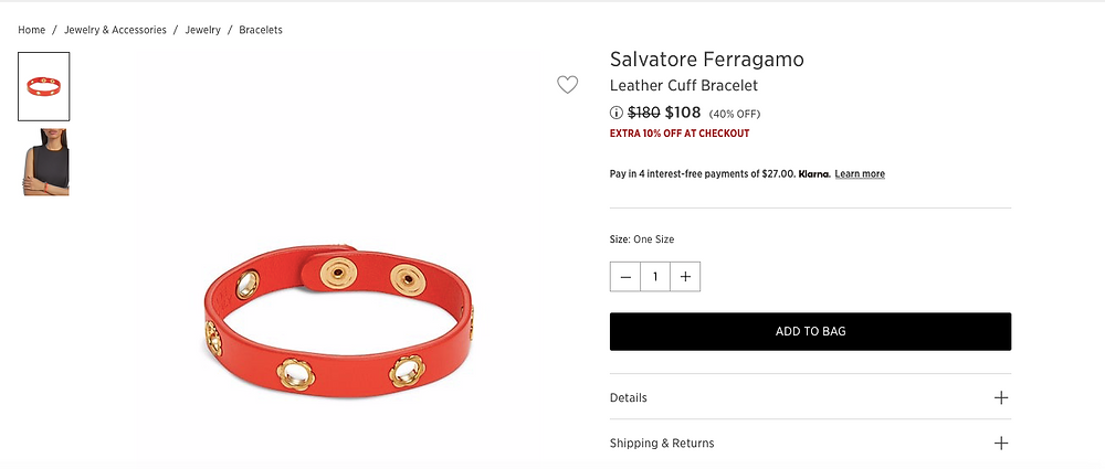 Salvatore Ferragamo Leather Cuff Bracelet Price reduced from $180 to $108 (40% OFF)  EXTRA 10% OFF AT CHECKOUT