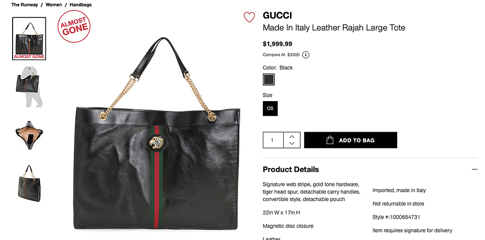 GUCCI Made In Italy Leather Rajah Large Tote  $1,999.99